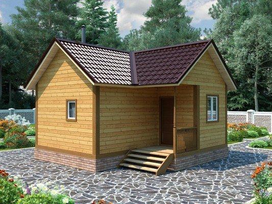 Угловой одноэтажный каркасный дом — баня с крыльцом 6х6 Борнмут