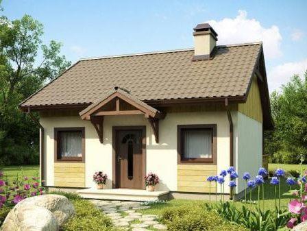 Одноэтажный каркасный дом с двумя входами 7,5х7,5 Каприз