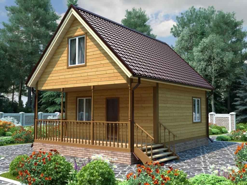Каркасный дом с мансардным этажом и террасой 6х8 Мечта
