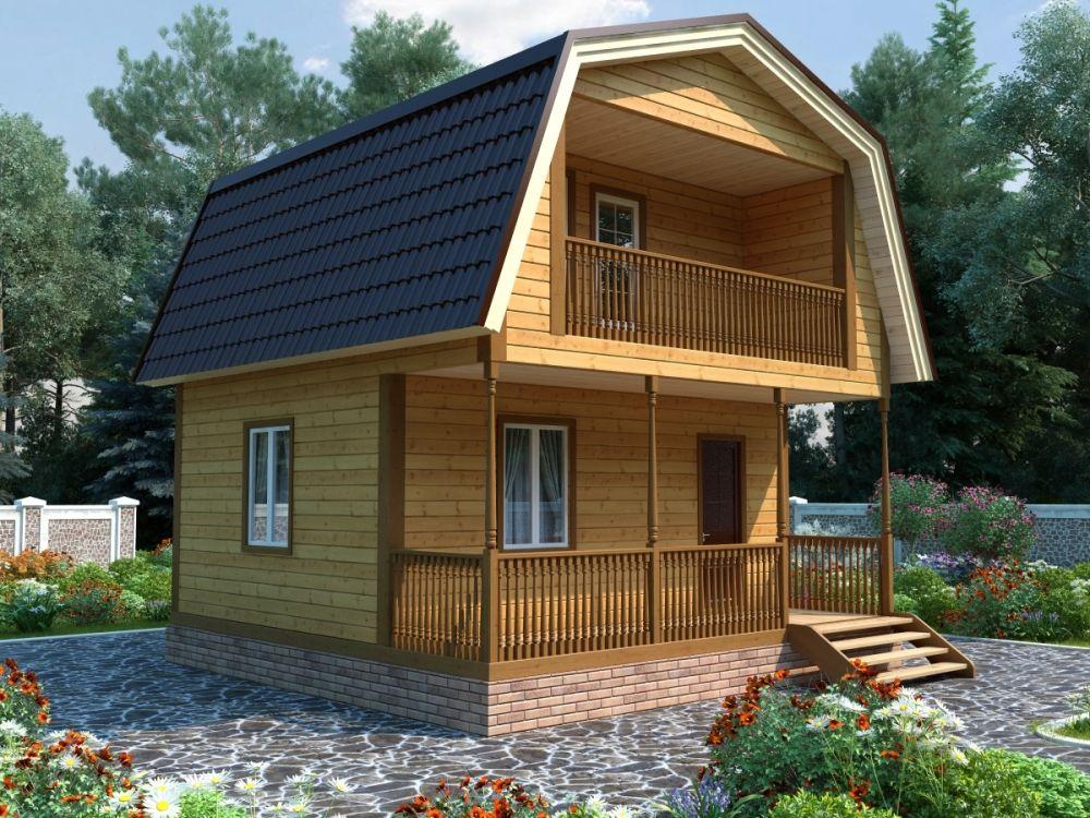 Каркасный дом с террасой и балконом на мансардном этаже 6х6 Фаренгейт