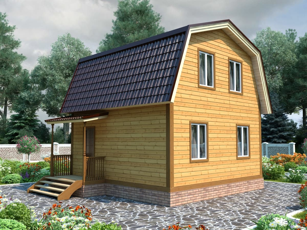 Каркасный дом с крыльцом и мансардой 6х7 Аркада
