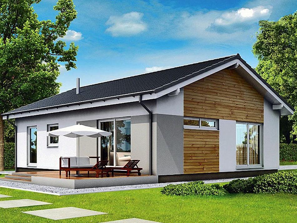 Современный одноэтажный  дом из бруса с панорамными окнами 11,6х8,6  Дадли