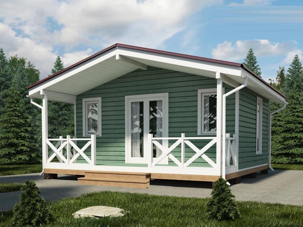 Одноэтажный каркасный дом с террасой Викинг