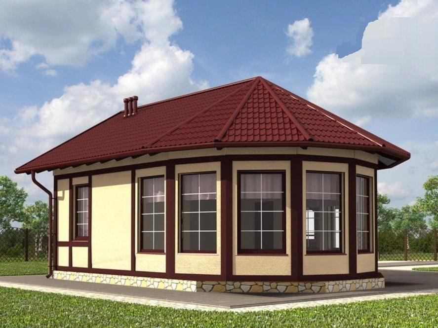 Одноэтажный каркасный гостевой дом — кухня  с эркером 8х6 Капри
