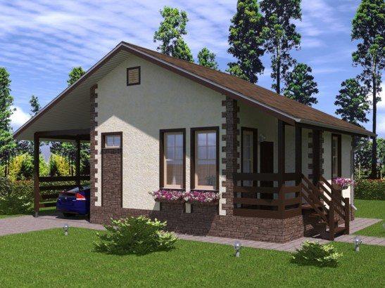 Одноэтажный каркасный дом с гаражом 7х8 Каскад