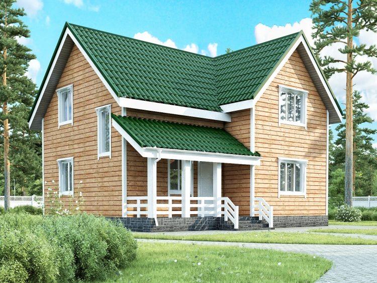 Двухэтажный угловой каркасный коттедж с террасой 7, 5х8,5 Октава