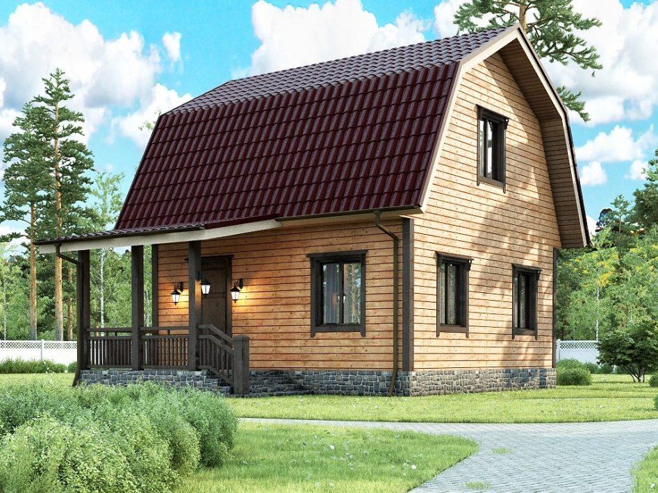 Каркасный дом с мансардным этажом и террасой 6х7,5 Слава