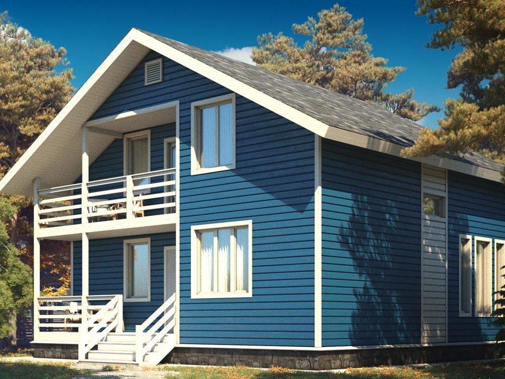 Двухэтажный каркасный коттедж с 4 спальнями 8х9 Лазурь