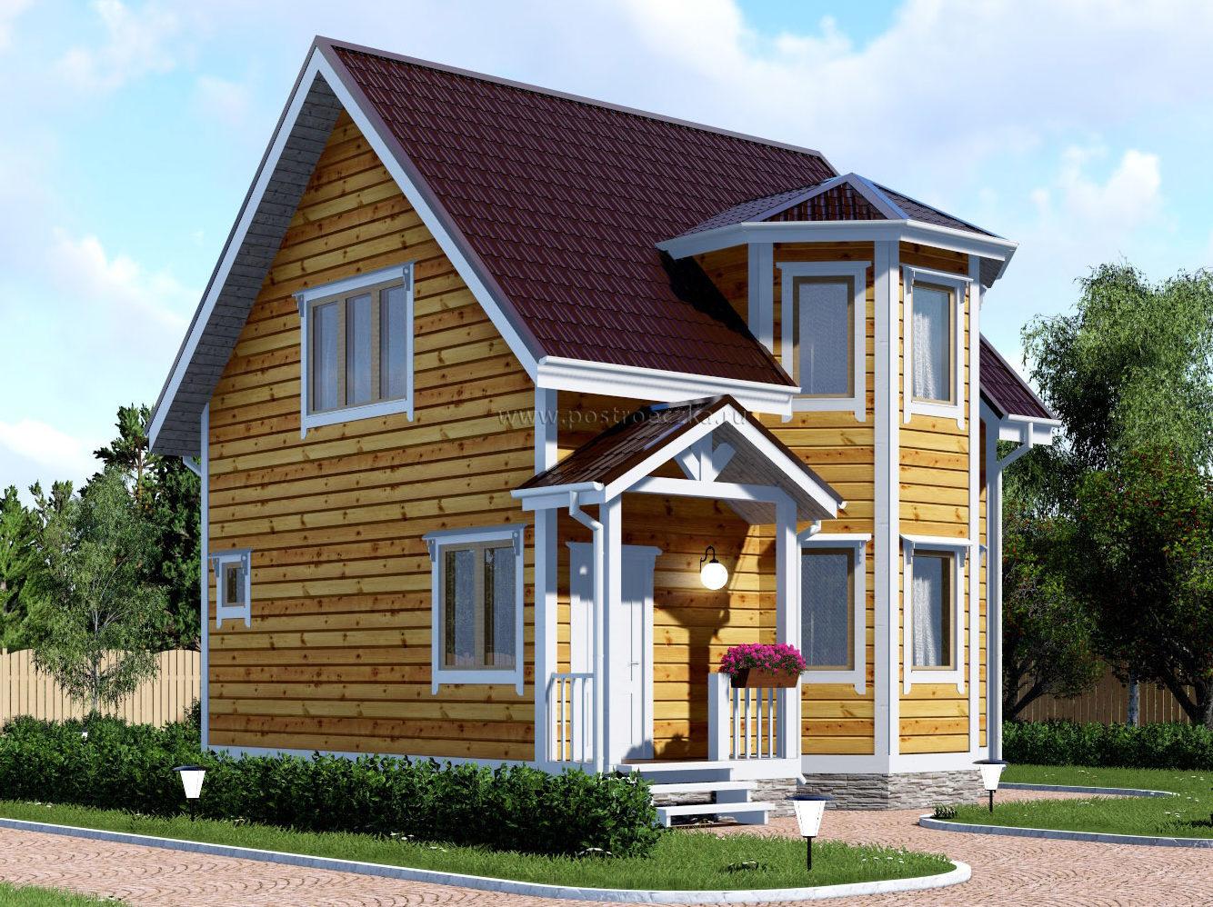 Каркасный дом с мансардным этажом и эркером 8х8 Лерой