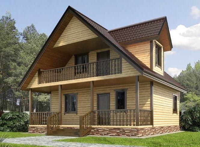 Двухэтажный каркасный коттедж с двумя спальнями 8х8 Монс