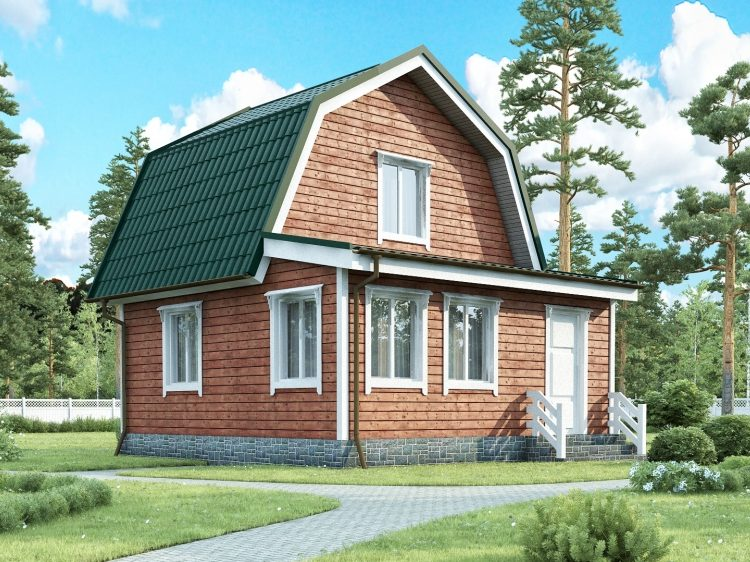 Каркасный дачный дом с ломанной крышей на мансарде и верандой 6х6 Премьер