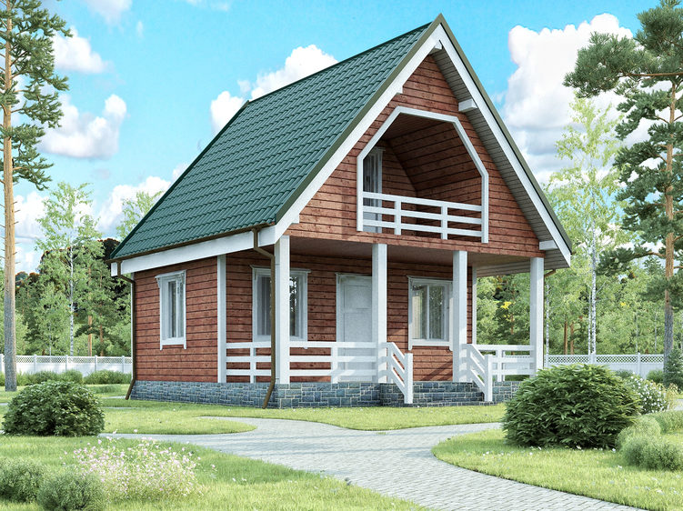 Каркасный дом с террасой и балконом на мансардном этаже 6х7,5 Видный
