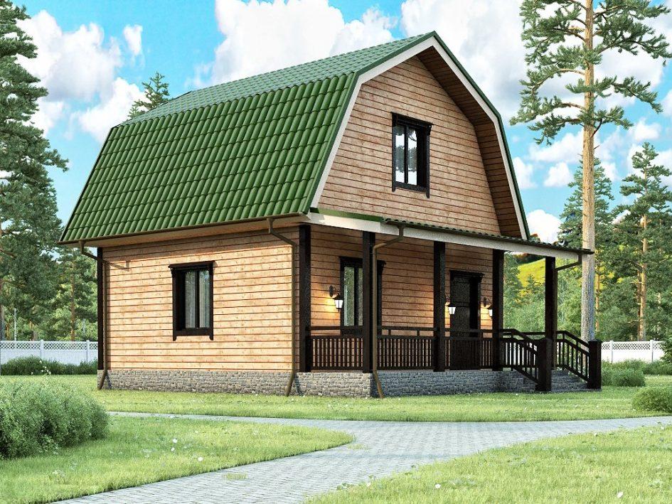 Каркасный дом с мансардным этажом и террасой 6х7,5 Меркурий