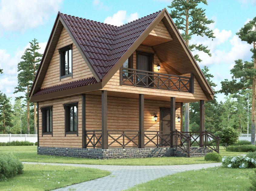 Каркасный дом с мансардным этажом и террасой 6х6 Стелла