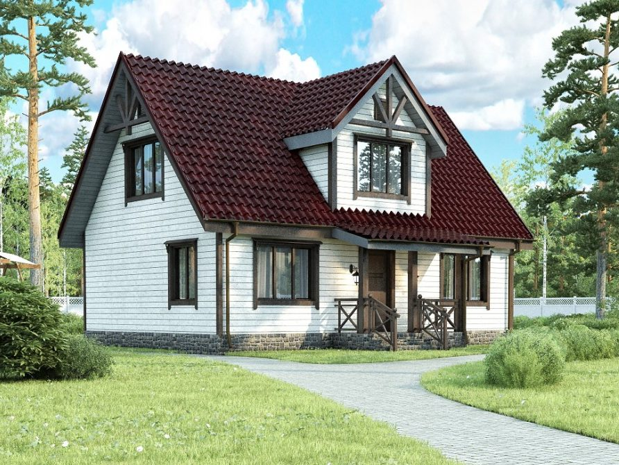 Каркасный дом с мансардным этажом и эркером и крыльцом 7х9 Светлый