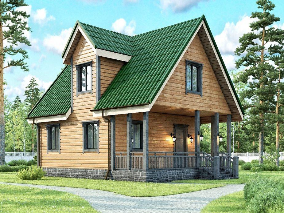 Каркасный дом с мансардным этажом и эркером и террасой 6х8 Зодиак