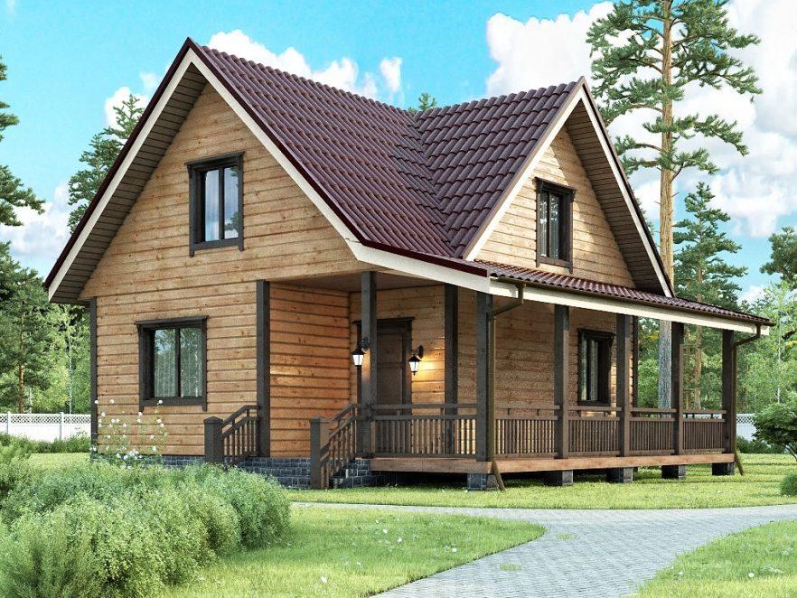 Каркасный дом с мансардным этажом и террасой 8х8 Созвездие