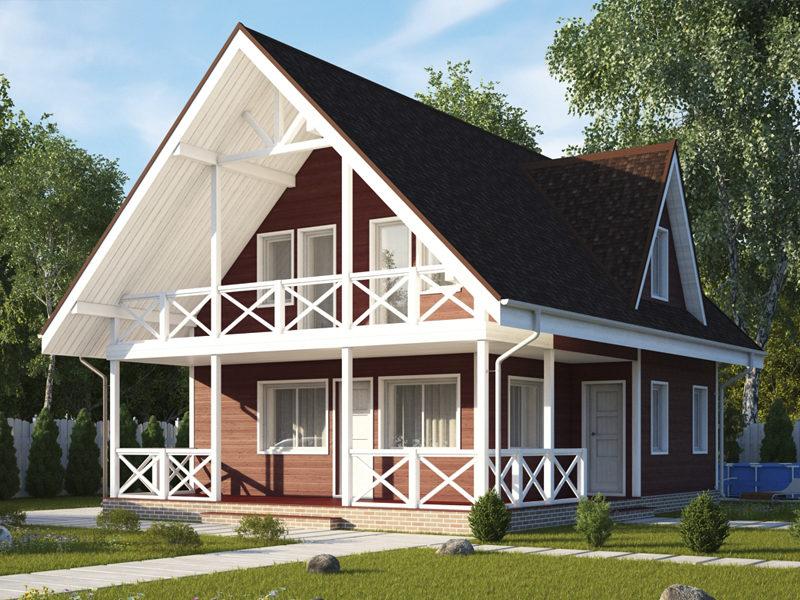 Двухэтажный коттедж из бруса с балконом и большой террасой 11,4х8,8 Борнмут