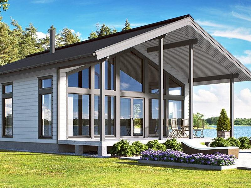 Дом из бруса  с панорамными окнами и вторым светом 9х9,7 Брадфор