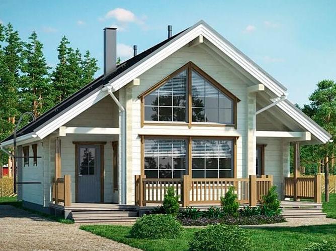 Дом из бруса с панорамными окнами и вторым светом 8,1х8,1 Рединг