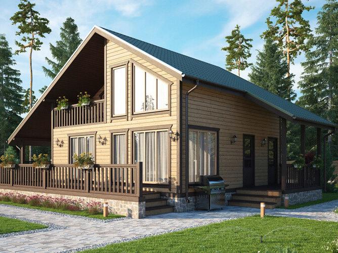 Дом из бруса с панорамными окнами и большой террасой 10х13 Олдем