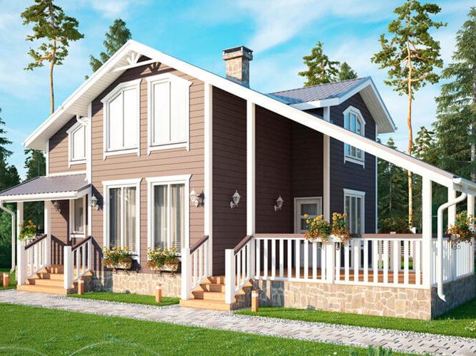 Дом из бруса с панорамными окнами и большой террасой 10,5х12 Лутон