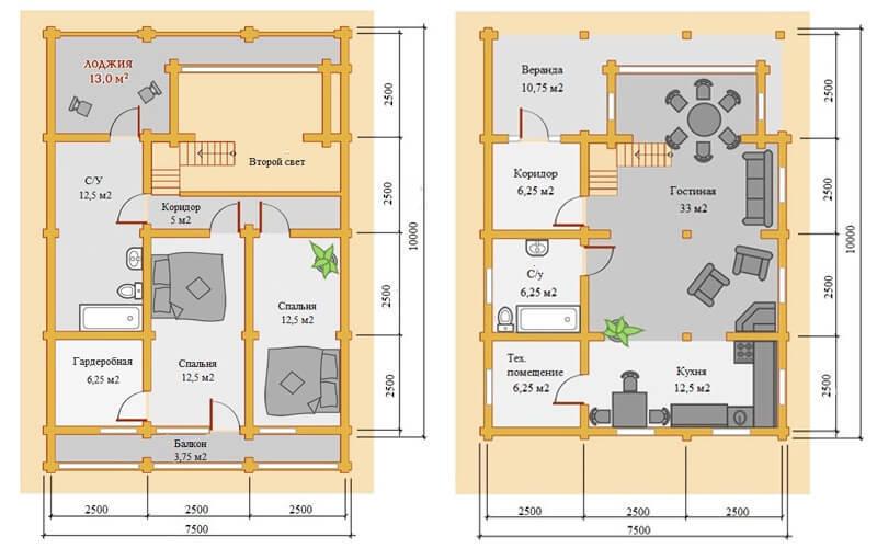 Дом из бруса со вторым светом и верандой 7,5х10 Ливерпуль