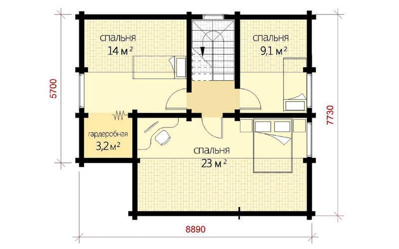 Дом из бруса с террасой под отдельной крышей 10,6х8,9 Ковентри