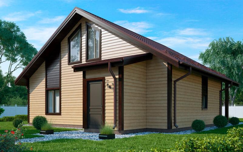 Дом из бруса с панорамными окнами 9х10 Бирмингем