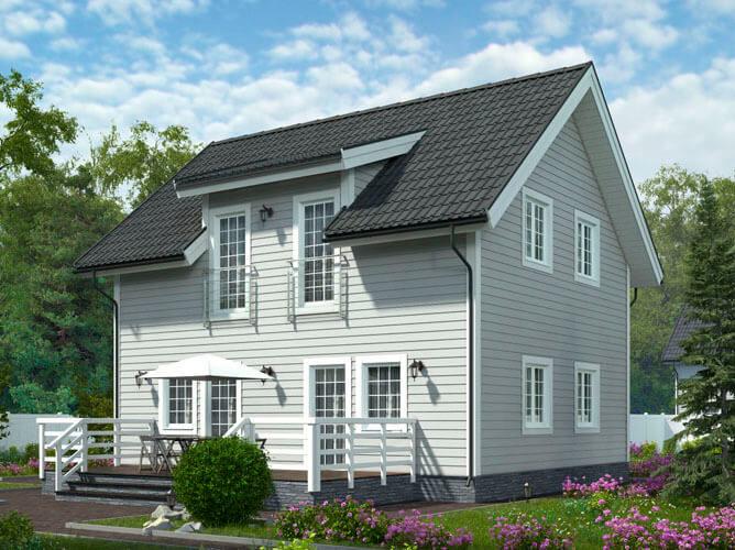 Дом из бруса в классическом стиле 7,5х9,1 Уолсолл