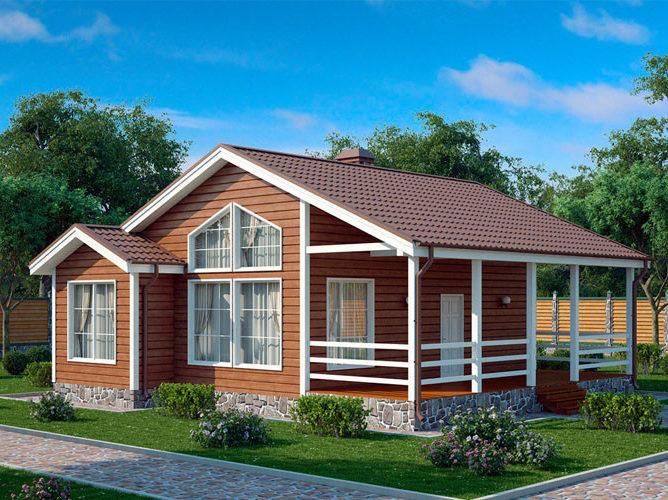 Дом из бруса со вторым светом и панорамными окнами 10,5х11 Питерборо