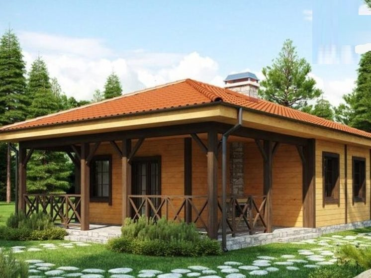 Одноэтажный каркасный дом с четырехскатной крышей и большой террасой 8,5х10 Весна