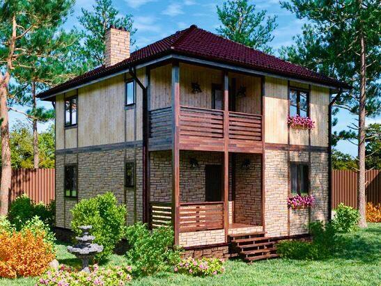Коттедж из бруса с четырехскатной крышей и четырьмя спальнями 8х9 Днепр