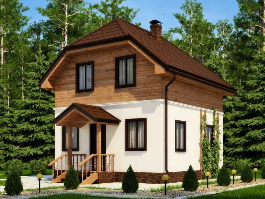 Двухэтажный каркасный коттедж с тремя спальнями 6х7 Ривьера