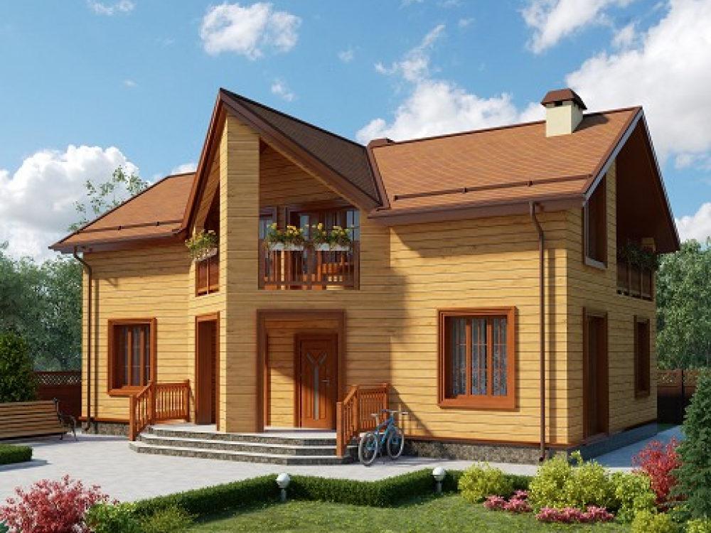 Дом из бруса на 2 семьи с отдельными входами 13,6х7,6 Петерборо