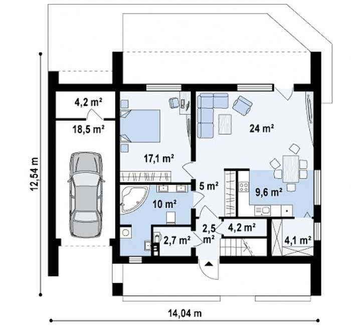 Дом из газобетона двухэтажный с террасой на втором этаже 12,5х14 м Экскалибур