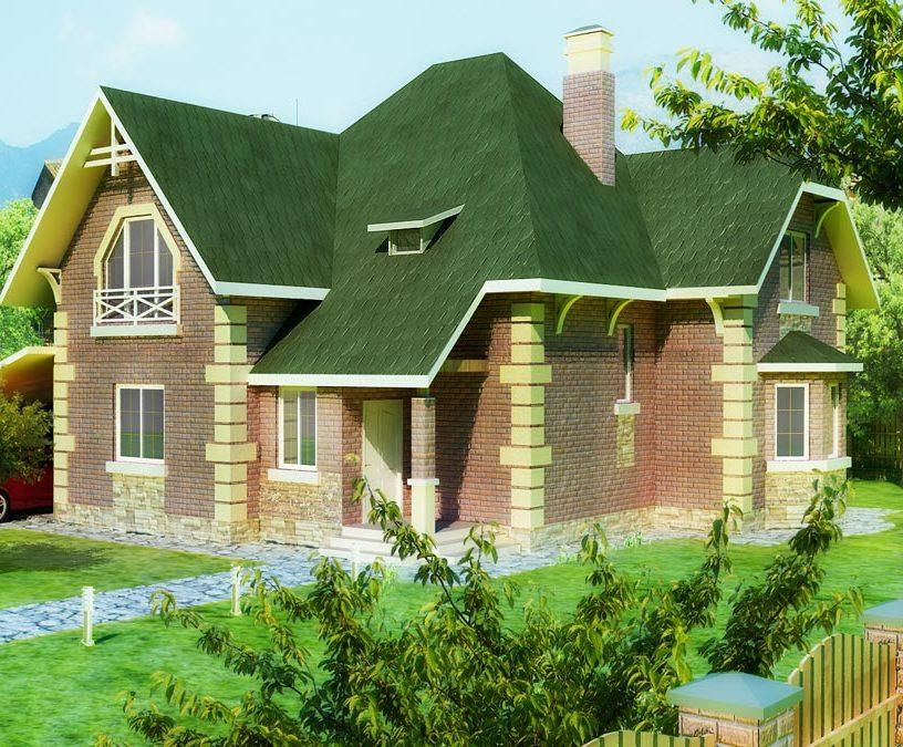 Дом из газобетона с ломаной крышей 185 кв.м. Эконика